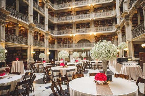 Maryland Wedding Reception George Peabody Library 3 550x366 Metallic