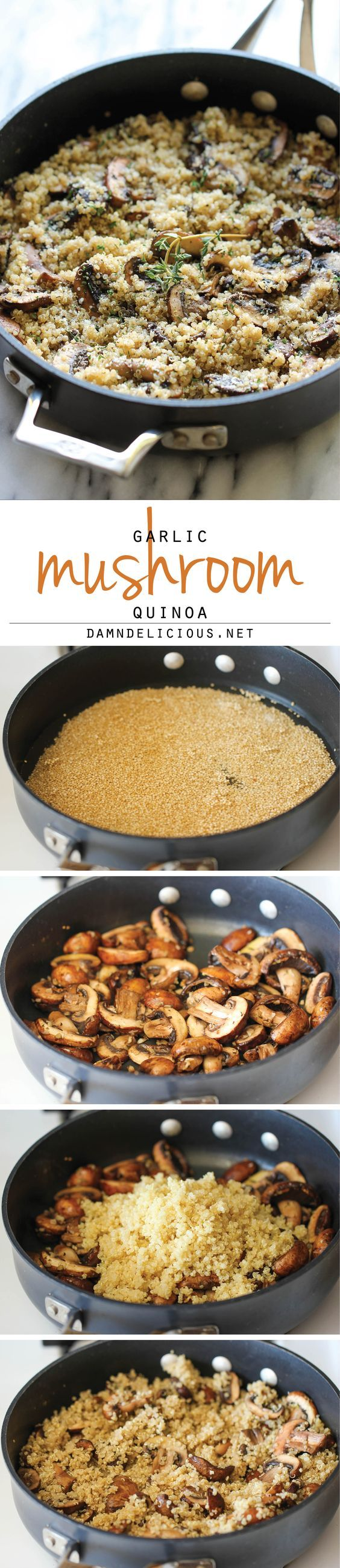 Garlic Mushroom Quinoa - An easy, healthy side dish that you'll want to make with every single meal! Make use to use a vegan Parmesan cheese!