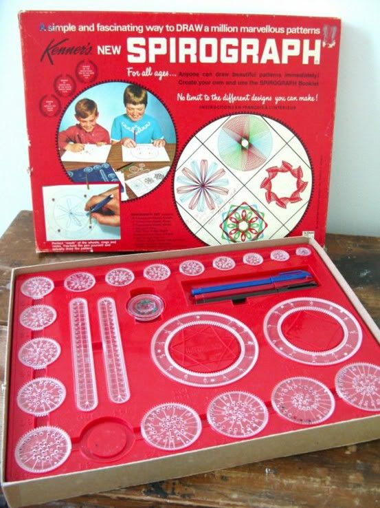Spirograph - Way cool. I had this set. Never could get those darn long ones to work; they were so lopsided - it always messed up. grrrr