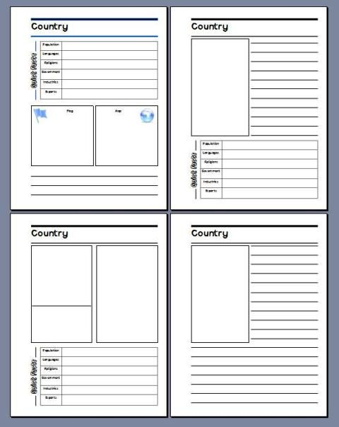 GEOGRAPHY:  free Country Study notebooking pages
