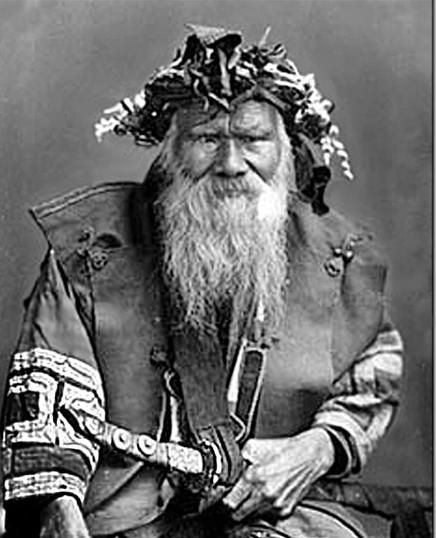 Ainu elder An Ainu man, wearing traditional dress and the abundant beard that distinguished his people from the Japanese