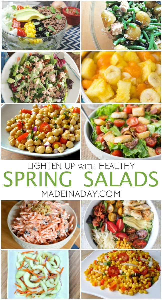It's time to break out the grill! Spring salad recipes, BLT, corn salad, carrot salad, cobb salad, Thai cucumber, chickpea, Vidalia onion, homemade croutons via @madeinaday