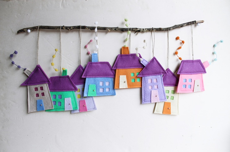 Set of eight felt houses in pastel colors, Housewarming gift, Home Decor all seasons.