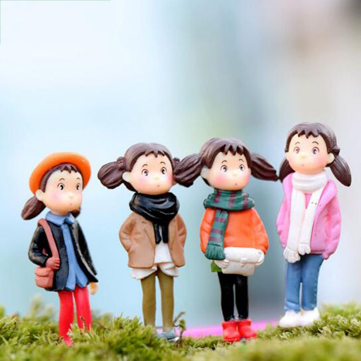 Novelty 4Pcs/Set Resin Crafts Kawaii Girls Micro Landscape Character Pot Culture Tools Home Garden Decor Figurine Miniatures-in Figurines & Miniatures from Home & Garden on Aliexpress.com | Alibaba Group