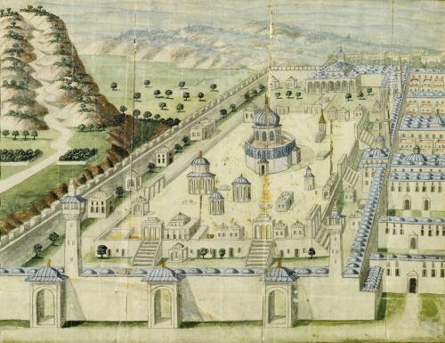 UNE ILLUSTRATION ottomane de la mosquée Al-Aqsa à Jérusalem,  TURQUIE, 18ÈME gouache accrue d'or sur papier, accompagnée d'une section d'un manuscrit ottoman écrite dans le script naskh noir, une feuille monté à côté du dessin de mentionner l'al-Aqsa Mosque 29. 5 par 18,5 cm.