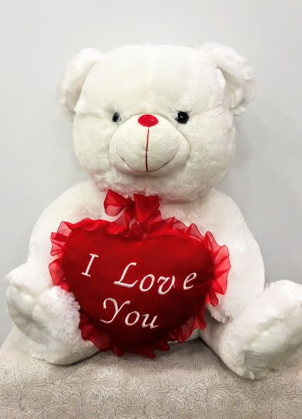 White Teddy Love Bear www.flowers4u.g