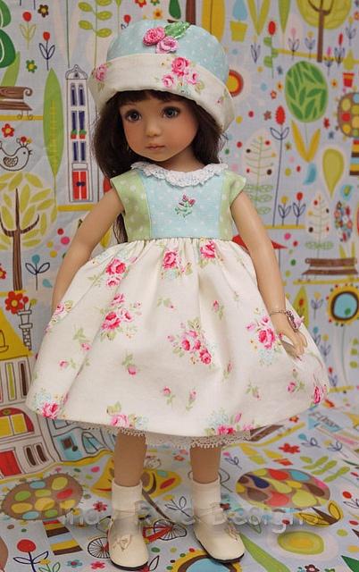 Spring Daydreams, via Flickr.  Dress and hat for Dianna Effner Little Darling doll.