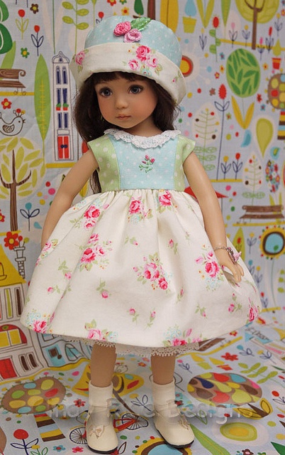 Spring Daydreams, via Flickr.  Dress and hat for Dianna Effner Little Darling doll.: