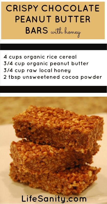 Crispy Chocolate Peanut Butter Bars with Honey: a healthy alternative ...