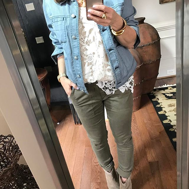Today was a Denim & Lace kinda day .....cabi locomotive jean jacket and our new release lace cami ,last season scout trouser (this season version is the Hutton) and a great suede bootie * View/Shop the current cabi collection link in my profile Need additional help contact me janismurphy@live.com *