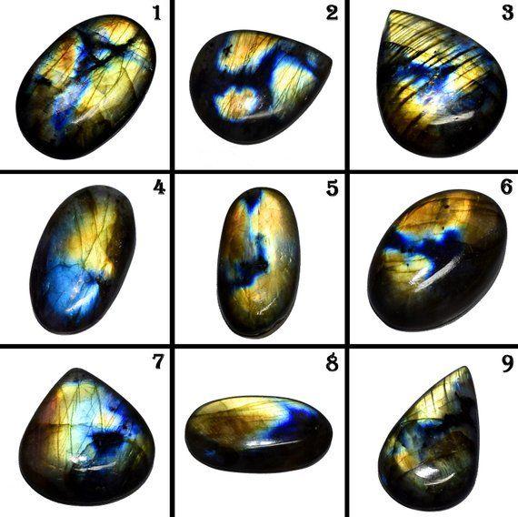 Natural Flashy Labradorite Mix Shape 8 pcs Loose Gemstone Cabochon Lot For Making Jewelry