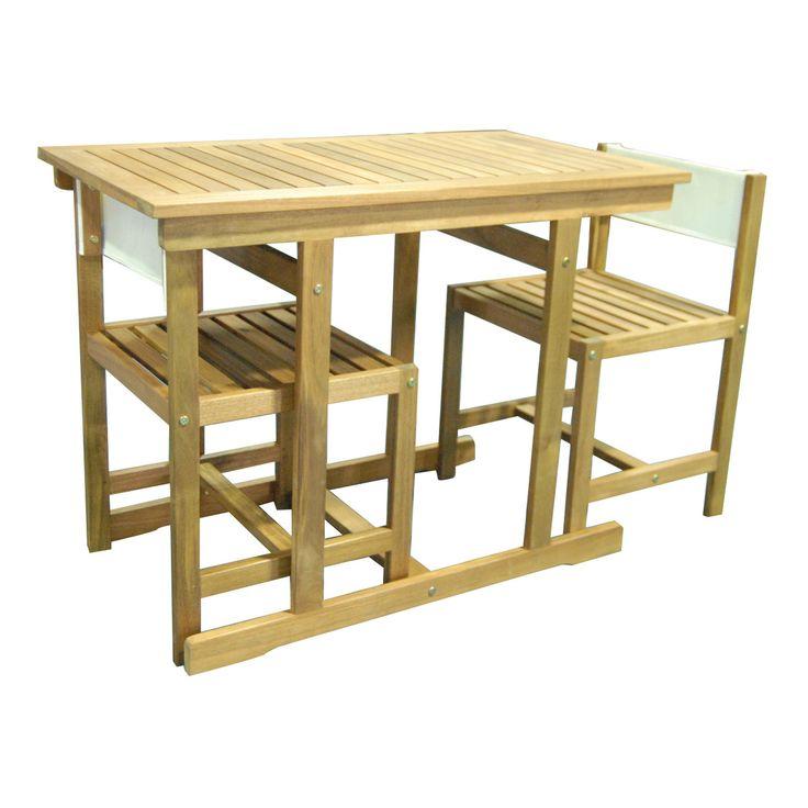 Set balcony_In acacia. Composto da tavolo rettangolare 55x100 + 2 sedie  €115_Leroy Merlin