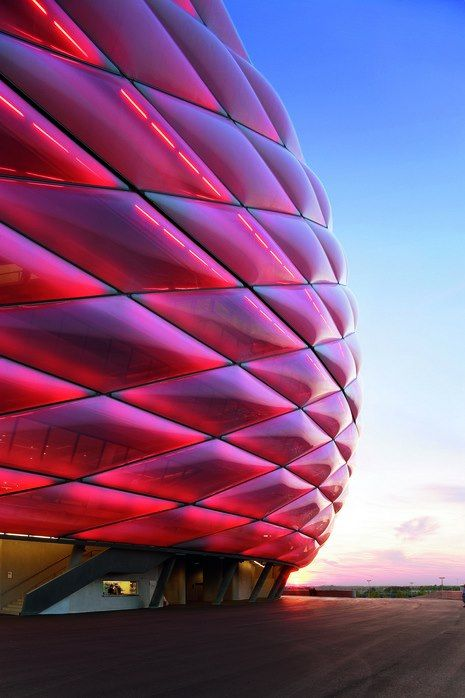 Allianz Arena, football stadium in the north of Munich, Bavaria, Germany #architecture ☮k☮