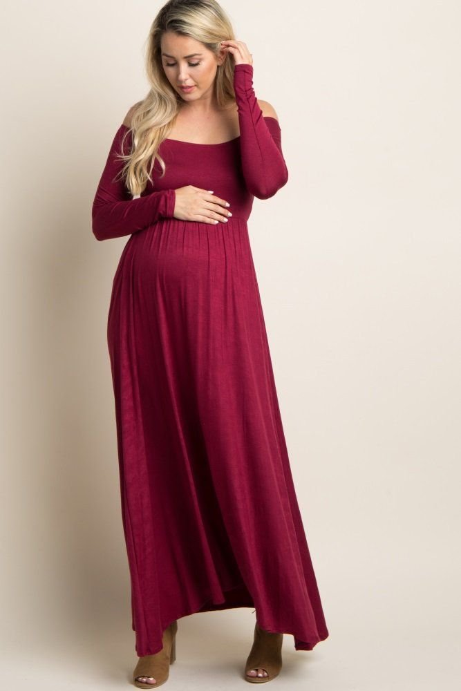 5b7c21a093c Burgundy Solid Off Shoulder Maternity Maxi Dress