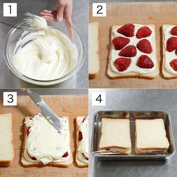 いいね!7,608件、コメント8件 ― 北欧、暮らしの道具店さん(@hokuoh_kurashi)のInstagramアカウント: 「\チーズクリームで作る、いちごのフルーツサンドのレシピ/ ◎材料(2人分) サンドイッチ用食パン 4枚 無塩バター 適量 イチゴ 約7〜8個 (チーズクリーム) クリームチーズ 100g…」