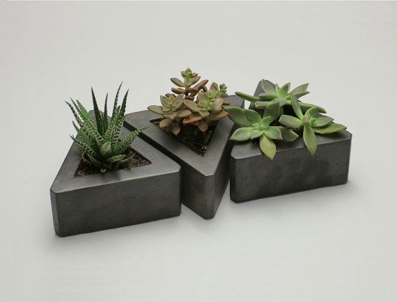 something different & very original Triangle Concrete #Pot  set of 3 by #roughfusion on Etsy, $72.00