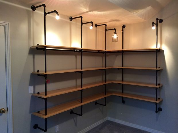Great for that dark corner that all homes seem to have. Picture of Lighted Pipe-supported Shelves. Maybe in the basement?