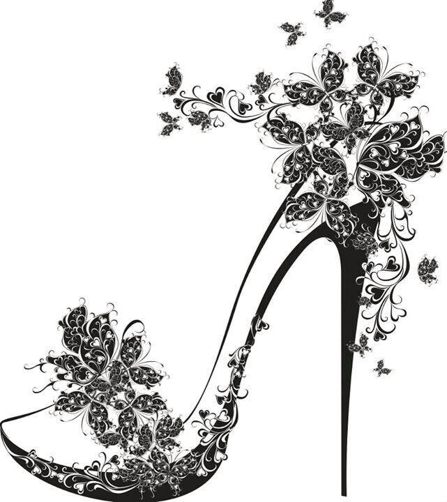 Chaussure a talon papillon