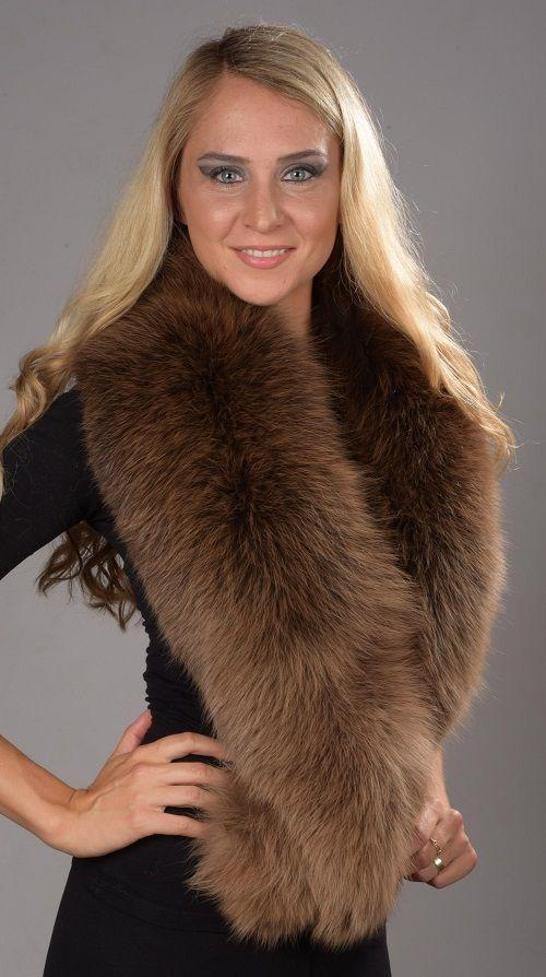 Collo in pelliccia in volpe marrone scandinava  www.amifur.it