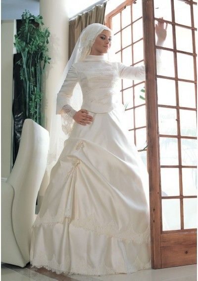 High Neckline with A-Line Rouched Asymmetrical Pick-up Skirt with Long Skirt ivory Muslim Wedding Dress  http://www.dawntravels.com/umrah.htm
