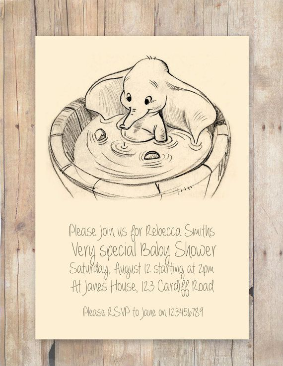 Disney Dumbo Baby shower invitation by FlurgDesigns on Etsy, £5.00