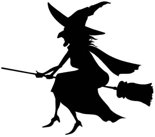 WITCH'S SILHOUETTE Free Black & White Halloween Clip Art http://wordplay.hubpages.com