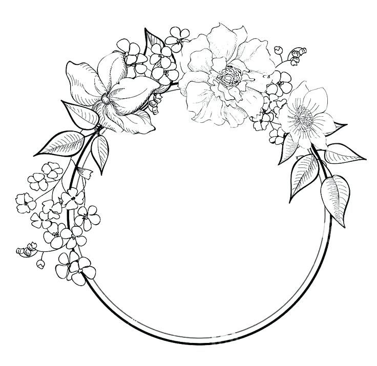 Floral Border Coloring Pages Wreath Drawing Flower Drawing