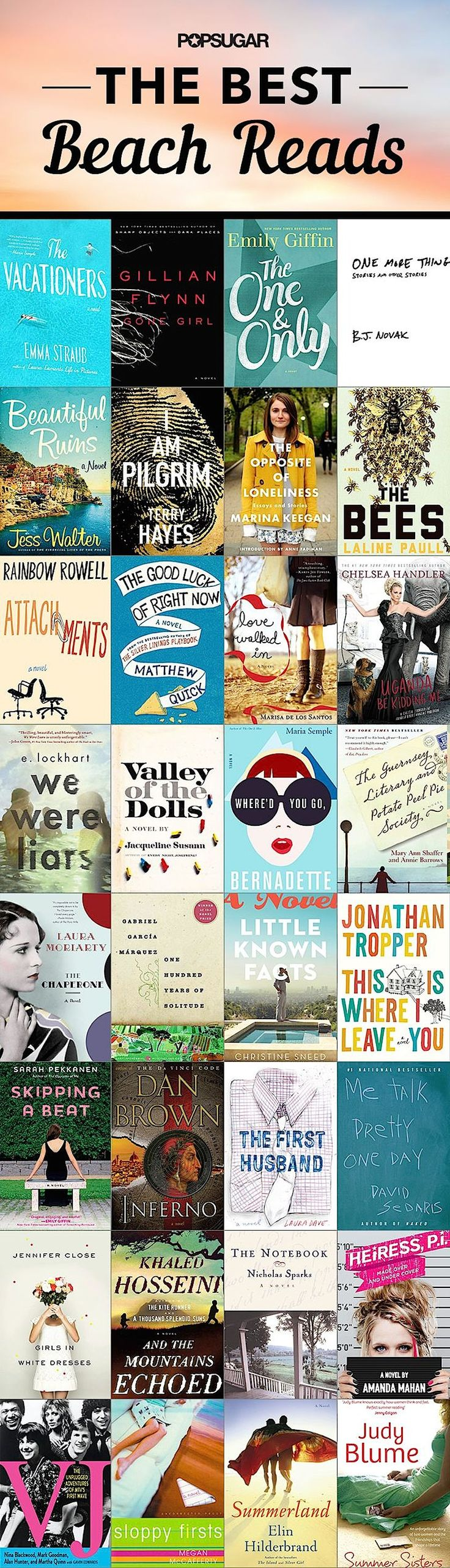 Popsugar has made a list of 2014 beach books for women. It's a collection of hot bestsellers in mystery, romance, and modern fiction, mixed with classic evergreens. #beachreads