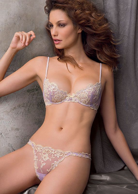 #Sexy Purple/Cream #Lingerie by Lise Charmel - Lacy Demi Cup Bra & Sheer String Thong Set