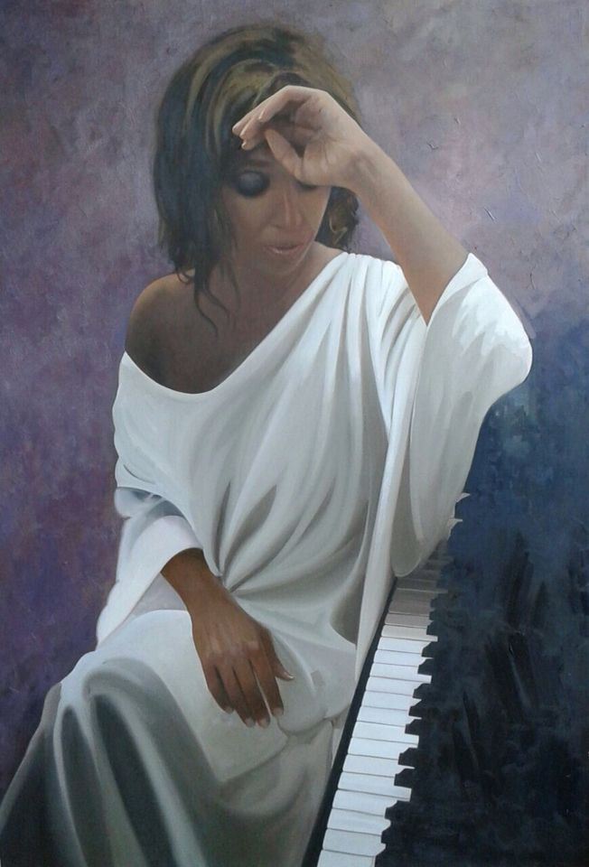 Esperanza Fernández portrait by Jose Higuera. Painting is based in a picture by Javier Caró