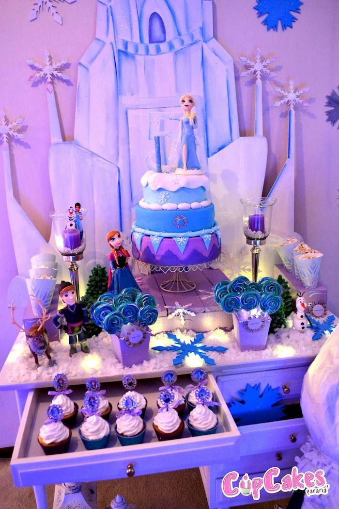 Frozen Themed Birthday Party with Lots of Really Cute Ideas via Kara's Party Ideas KarasPartyIdeas.com #frozenparty #frozen #disneyparty #frozencake #partyideas
