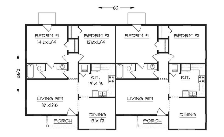 Simple small house floor plans duplex plan j 1042d for Small duplex house plans