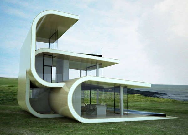 Victor Lusquinos Beach House ~ With only one wall per floor, the Victor Lusquinos beach house is anything but private.