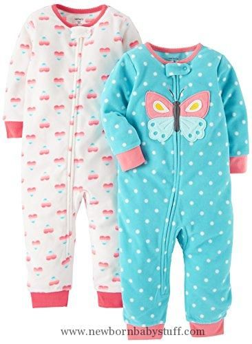 54aab26c25 Baby Girl Clothes Carter s Baby Girls  2-Pack Fleece Footless Pajamas