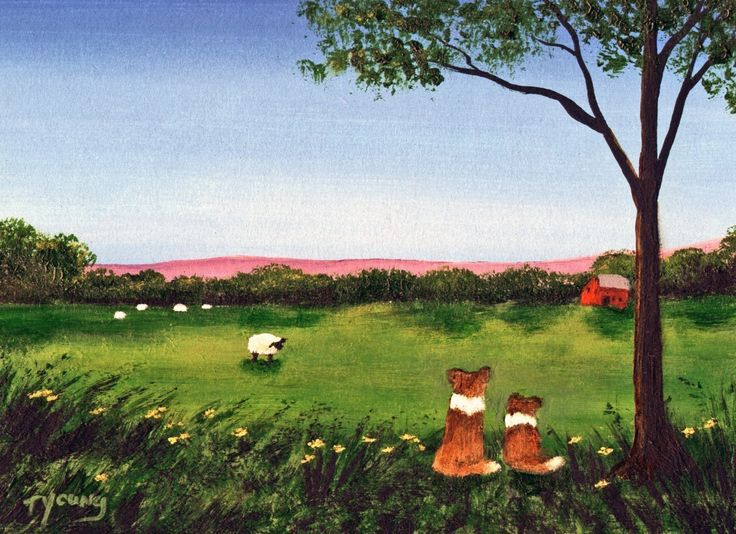 Sheltie Meadow Sheltie collie dog print by Todd Young. $12.00, via Etsy.