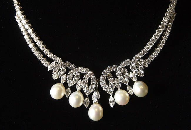 Called Princess Diana's Swan Lake Diamonds, this platinum South Sea pearl and diamond necklace was custom made for the Princess by Garrards, the Royal Family's Crown Jeweler. Princess Diana wore the necklace to her final public appearance, a performance of Swan Lake, shortly before her 1997 death.