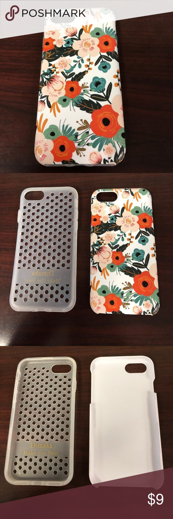 iPhone 7 flower case brand new condition Bought off amazon about three months ago and just upgraded to the plus. As seen in photos case is practically brand new. Reasonable offers only. Accessories Phone Cases