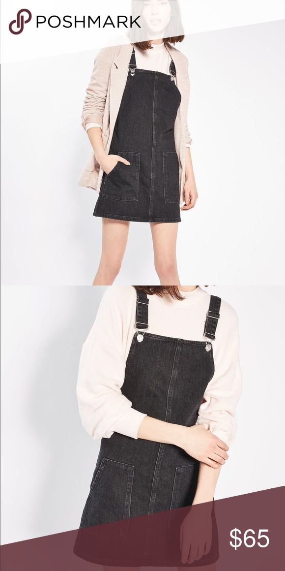 [TopShop] nwt black pinafore New with tags black jean overall dress Topshop Dresses Mini