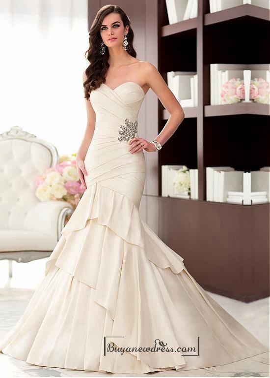 Alluring Taffeta Sweetheart Neckline Natural Waistline Mermaid Wedding Dress – Buyanewdress.com