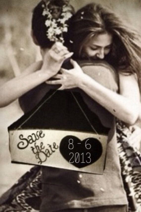 Chalkboard Save The Date Engagement Photo Prop by SawmillCreations, $12.00