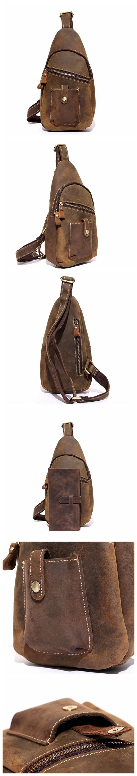 HANDCRAFTED TOP GRAIN LEATHER TRAVEL HIKING SINGLE STRAP SHOULDER BACKPACK SLING BAG