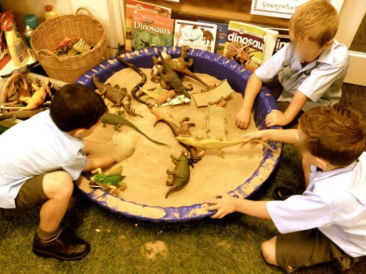"""Dinosaurs in the sand tray from WLA Study Tour at St Vincent de Paul Primary School, image shared by Walker Learning Approach: Personalised Learning ("""",)"""