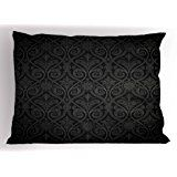 Black Pillow Sham by Lunarable, Antique Baroque Damask Pattern Gothic Medieval Curvy Vintage Victorian Venetian Style, Decorative Standard King Size Printed Pillowcase, 36 X 20 Inches, Black Grey