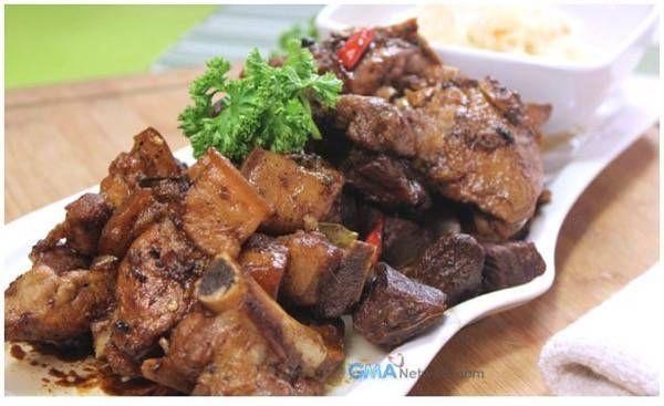 Chicken, Pork, and Beef Adobo (w/ Atcharang Papaya) Recipe - Kawaling Pinoy Recipes
