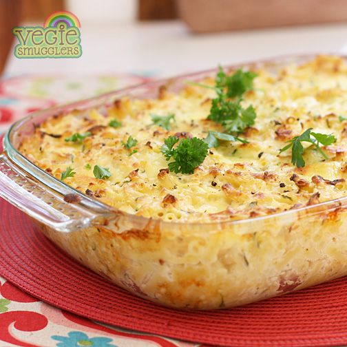 Vegie Smugglers macaroni cheese with four cheeses! hiding a bunch of white vegies, too!