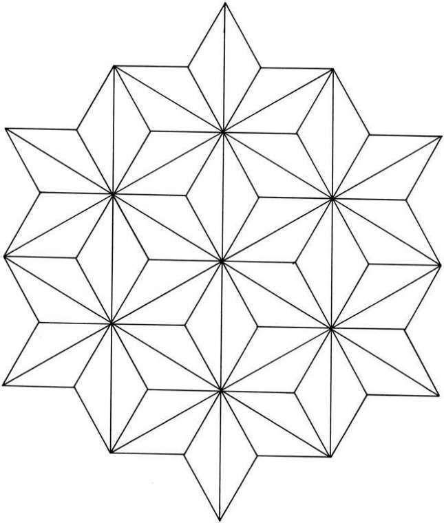 Dibujos geométricos para colorear e imprimir gratis - Estrellas unidas