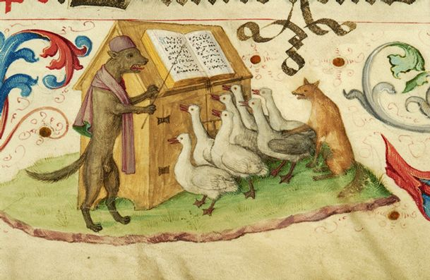 Wolf, conducting a choir of geese while a fox plans something dastardly....