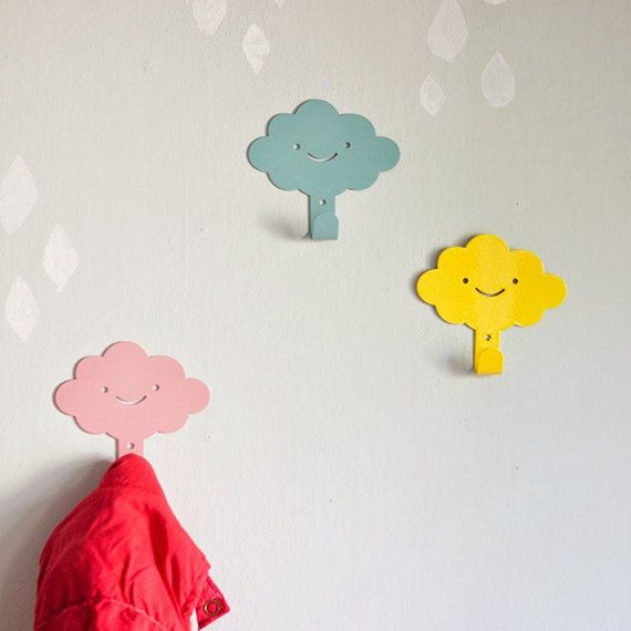 *** FREE WORLDWIDE SHIPPING ***  These smiling cloud wall hangers are just what you need to add some functional style to your little ones room.