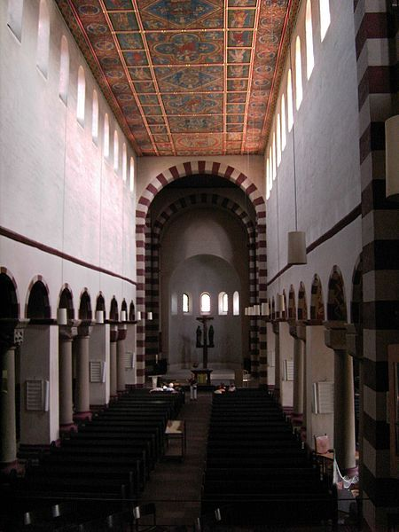 Interior of St. Michael's, Hildesheim, (1001-31) with alternating Romanesque piers and columns and a C.13th painted wooden ceiling