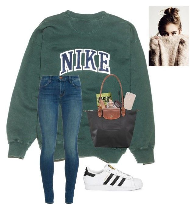 """""""Nike and Adidas"""" by a-devo ❤ liked on Polyvore featuring NIKE, J Brand, adidas Originals, NARS Cosmetics, MAC Cosmetics and Longchamp"""